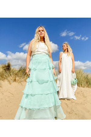 Labelrail X Olivia & Alice maxi skirt with tiering-Blue