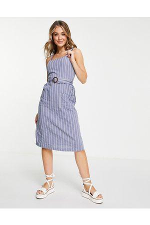 Brave Soul Damen Sommerkleider - Dahlia striped summer cami dress in blue