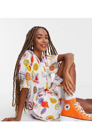 COLLUSION Damen Freizeitkleider - Fruit print revere mini shirt dress-Multi