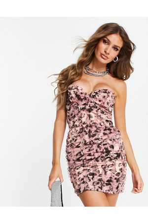 ASOS Satin bandeau mini dress with raw edge ruffle trim in pink leopard animal print-Multi
