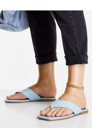 Truffle Collection Extreme square toe thong sandals in blue