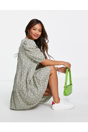 VERO MODA Damen Freizeitkleider - Smock mini dress in ditsy print-Multi