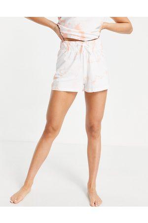 Threadbare Tie dye pyjama shorts in peach