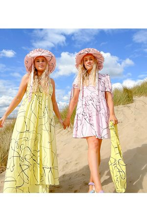 Labelrail X Olivia & Alice mini smock dress with tiered skirt in abstract line print-Pink