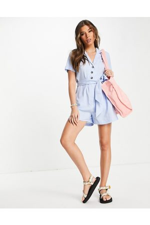 Style Cheat Collared shirt playsuit with tie waist in blue