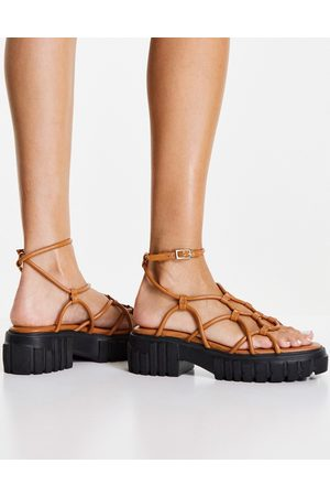 ASOS Frequent premium strappy sandals in tan-Brown