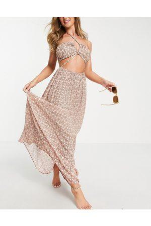 ASOS Strappy maxi beach dress in pretty tile print-Multi