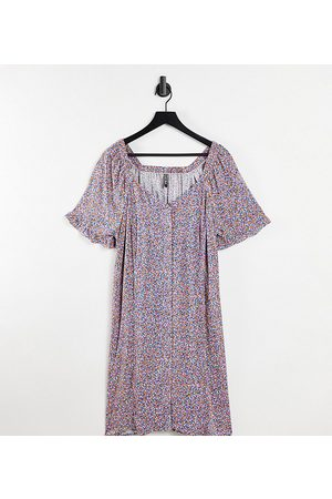 Pieces Plus Damen Freizeitkleider - Pieces Curve button through smock dress in ditsy floral-Multi
