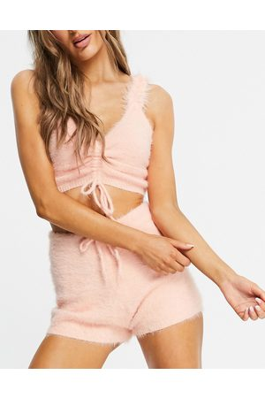 Lost Ink Fluffy drawcord cami top and short set in peach-Pink