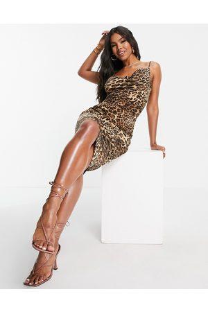 I saw it first Satin cowl neck tie back mini dress in leopard print-Brown