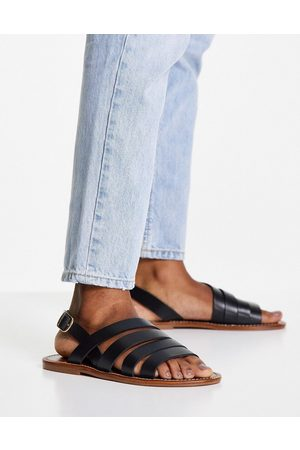 MANGO Strappy real leather sandal in black