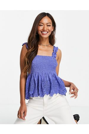 MANGO Shirred camisole top in blue
