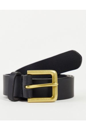 ASOS Leather slim belt in black with antique gold buckle