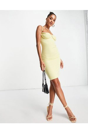 Lasula Under bust cami dress in lemon-Yellow