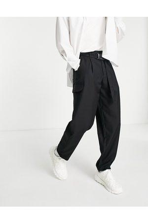 Bando Rudie wide leg pleated utility trousers-Black