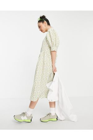 VILA Damen Bedruckte Kleider - Textured floral maxi dress with volume sleeve-Multi
