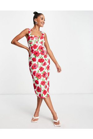 ASOS Sweetheart cupped ruched midi bodycon in floral print-Multi