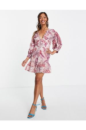 ASOS Palm print structured mini dress with lace trim detail and puff sleeve-Multi