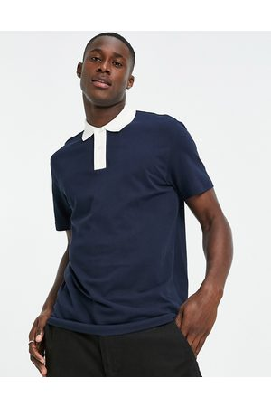 SELECTED Polo with contrast neck in white