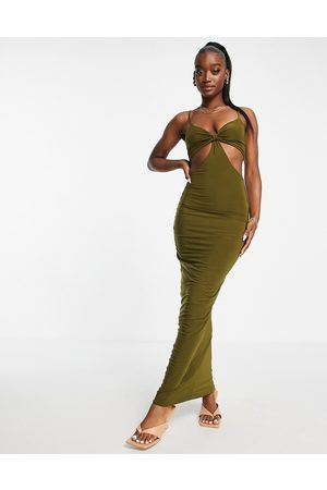 Missyempire Exclusive cut out bust detail maxi dress in olive green