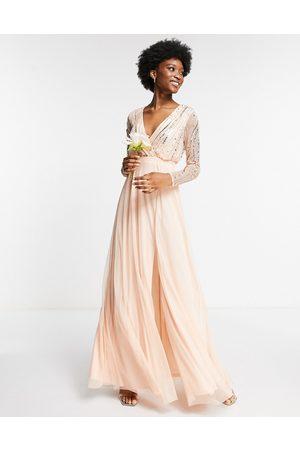 Frock and Frill Damen Lange Kleider - Wrap front embellished maxi dress in pearl pink