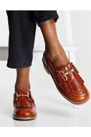 ASOS Mortice leather fringe loafers in tan croc-Brown