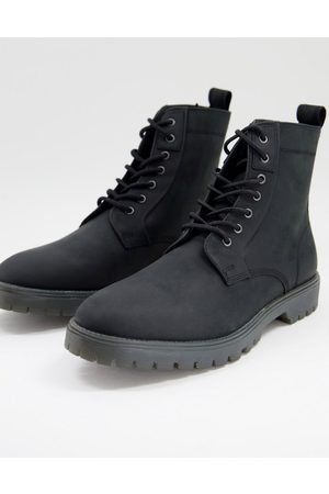 ASOS Lace up boots in black leather with chunky sole