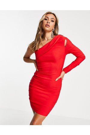 Vesper One shoulder mini dress with cut out detail in red