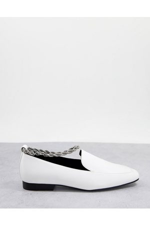 ASOS Matter ankle chain loafers in white