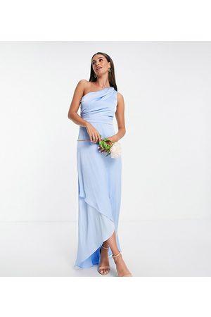 TFNC Bridesmaid one shoulder maxi dress in charcoal-Grey