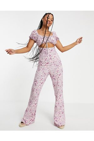 ASOS Cut out milk maid kickflare jumpsuit in lilac floral-Multi