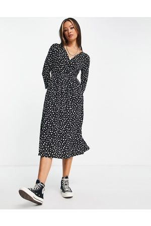 ONLY Damen Freizeitkleider - Wrap midi dress in spot print-Black