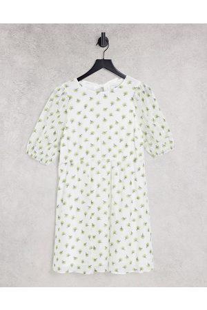 Envii Buttercup puff sleeve mini dress in white