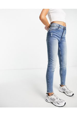 Pimkie Damen High Waisted - High waist skinny jeans in mid blue
