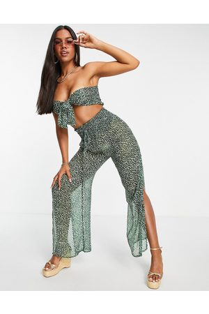 South Beach Paisley chiffon bandeau tie front top and loose fitting pants set in green
