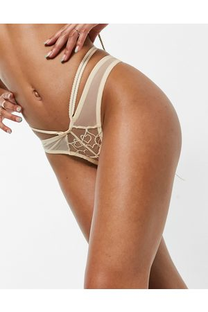 Lost Ink Embroidered heart mesh thong in cream-White