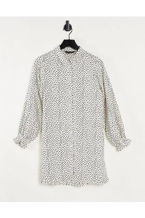 Brave Soul Printed shirt dress in white