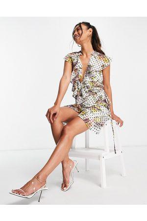 ASOS Damen Bedruckte Kleider - Dobby spot ruffle wrap mini dress with floral print-Multi