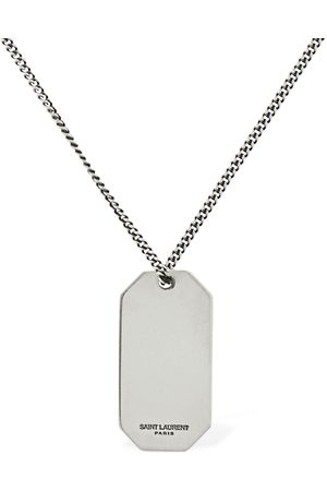Saint Laurent Herren Halsketten - Lange Halskette Mit Plakette