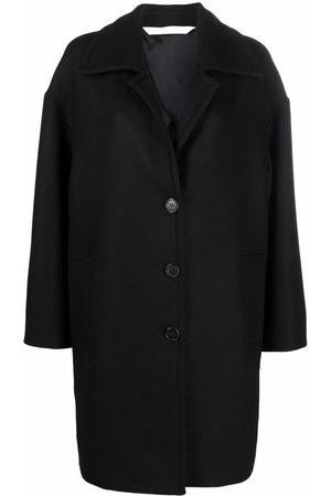 Palm Angels Damen Trenchcoats - ROUND LOGO COAT BLACK WHITE