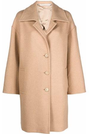 Palm Angels Damen Trenchcoats - ROUND LOGO COAT BEIGE WHITE
