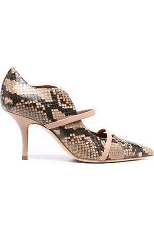 MALONE SOULIERS Snakeskin-effect leather pumps