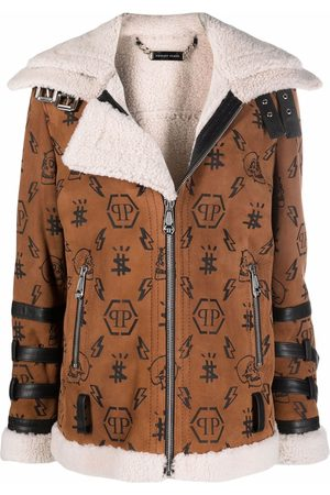 Philipp Plein Monogram shearling-lined suede biker jacket