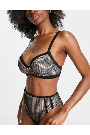 ASOS Fuller bust contrast fishnet underwired bikini top in black and mink dd-g