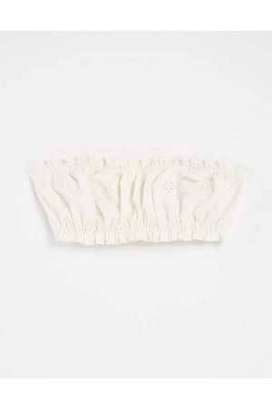 & OTHER STORIES Bandeau broderie bikini top in off white