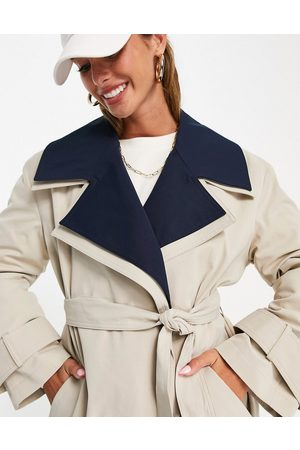 ASOS Double layer trench coat in navy-Blue