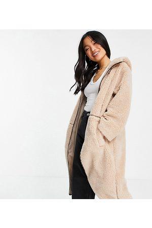 ASOS ASOS DESIGN Petite fleece coat with contrast stitching in camel-White