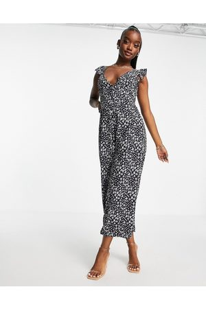 I saw it first Woven button frill strap culotte jumpsuit in navy floral print