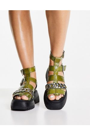 Topshop Pioneer chain chunky leather sandal in green