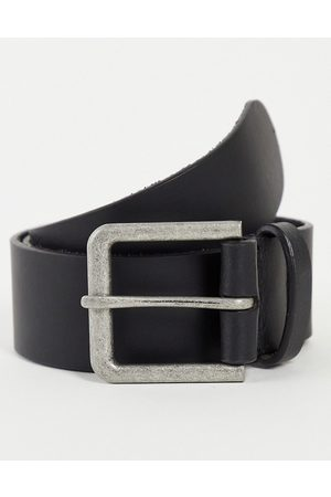 ASOS Leather wide belt in black with antique silver buckle